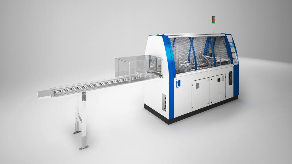 3D-Produktfoto/Rendering der Kolbus Inline-Buchendfertigung, Drehstapler
