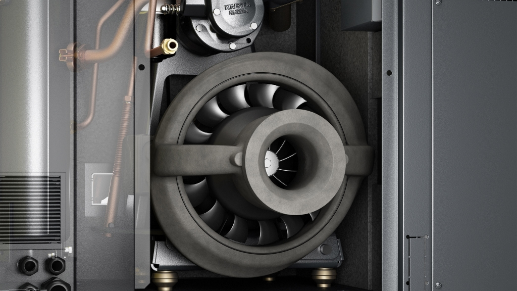 3D-Detailbild/Rendering des Lüfters des Kaeser SK Aircenters