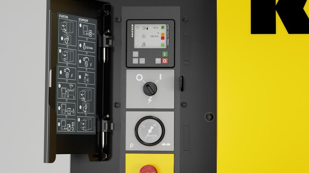3D-Detailbild/Rendering der Sigma Control Smart Steuerung des Kaeser Mobilair M58
