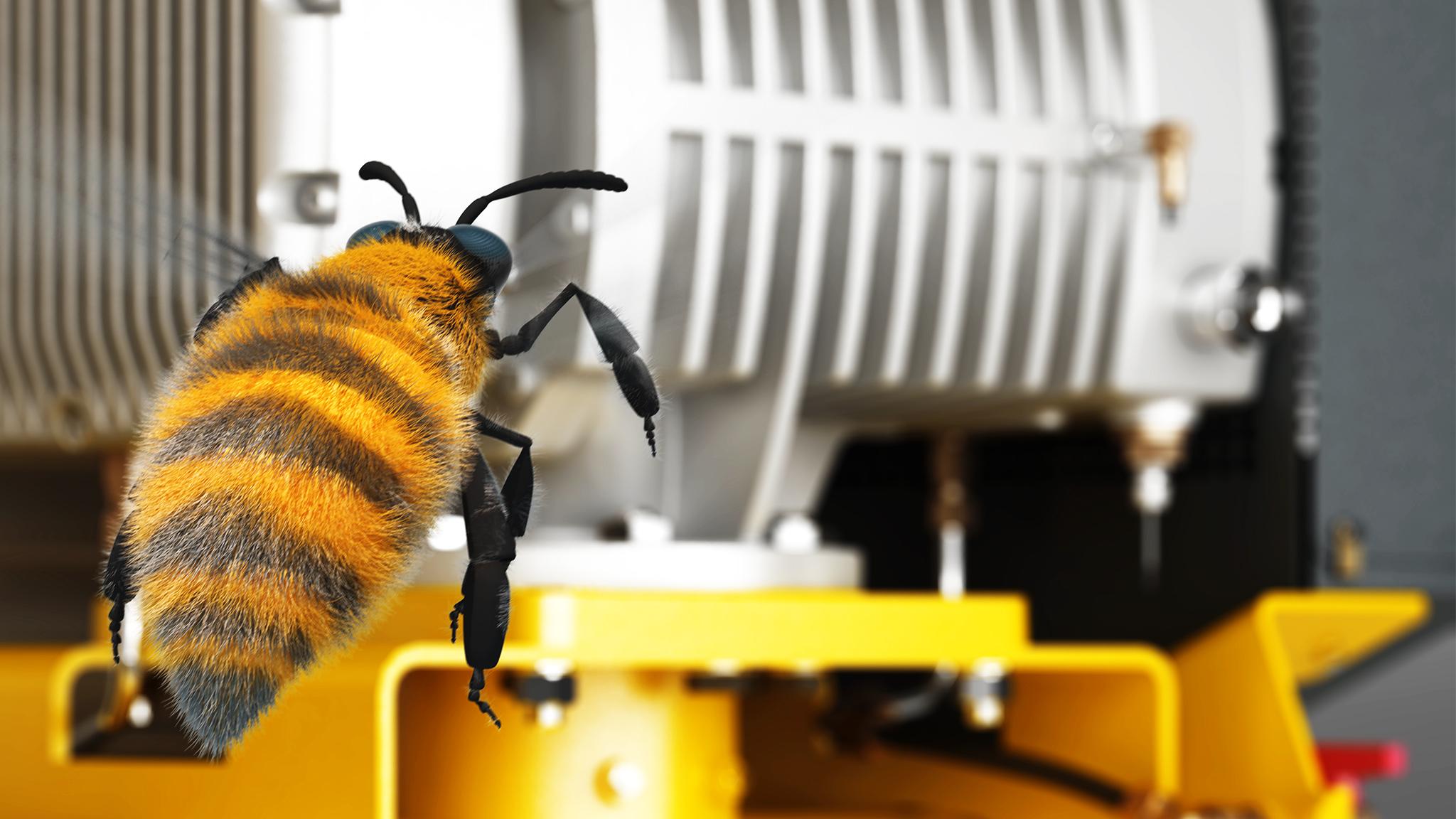 3D-animierte Biene erkundet Kaeser-Gebläseanlage