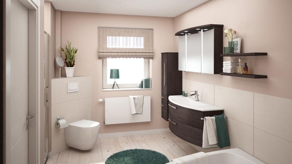 Beigefarbenes Badezimmer und dunkelgrünen Akzenten, 3D-Milieu interior/Rendering