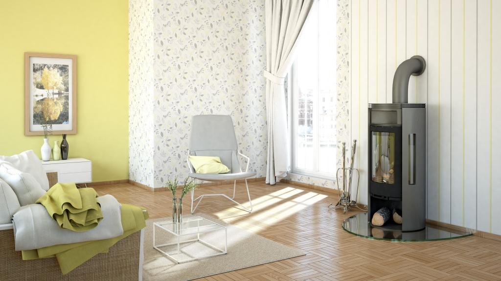 Helles Wohnzimmer mit Kamin vor gelb grauer Rasch Tapete, 3D-Milieu interior/Rendering