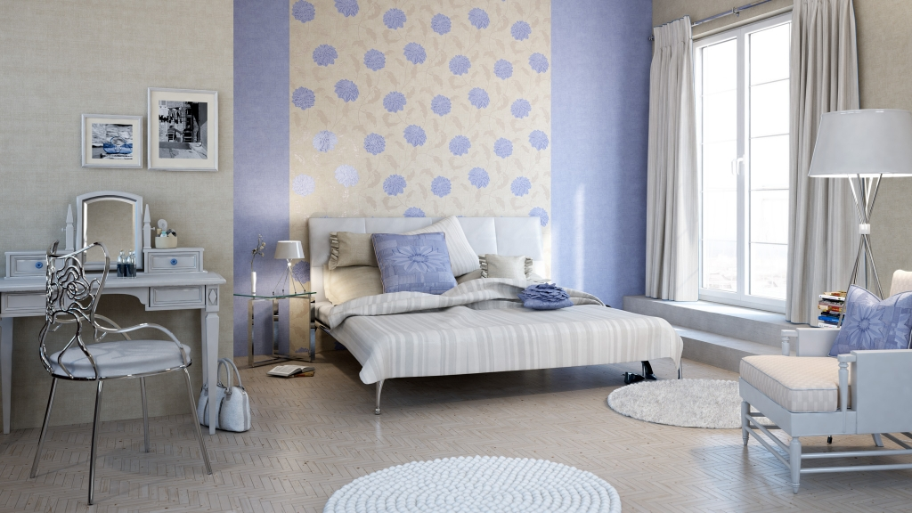 Schlafzimmer mit Doppelbett und Schminktisch vor beige-fliederfarbener Rasch Tapete, 3D-Milieu interior/Rendering