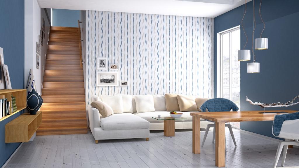 Gemütliches Wohn-/Esszimmer vor beige blau weißer Rasch Tapete, 3D-Milieu interior/Rendering