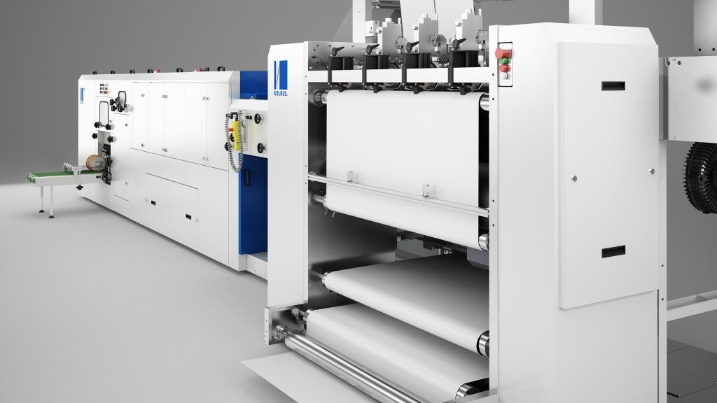 3D-Produktfoto/Rendering eines Kolbus Falzapparates für den Digitaldruck