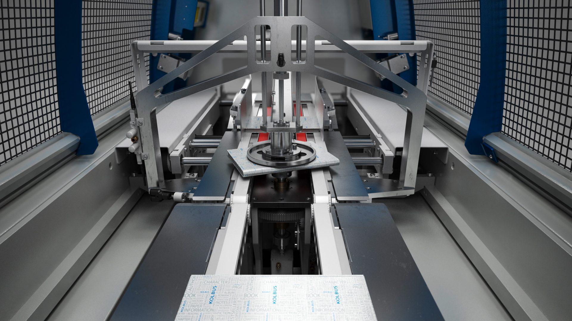 Rendering der Kolbus Inline-Buchendfertigung, Drehstapler