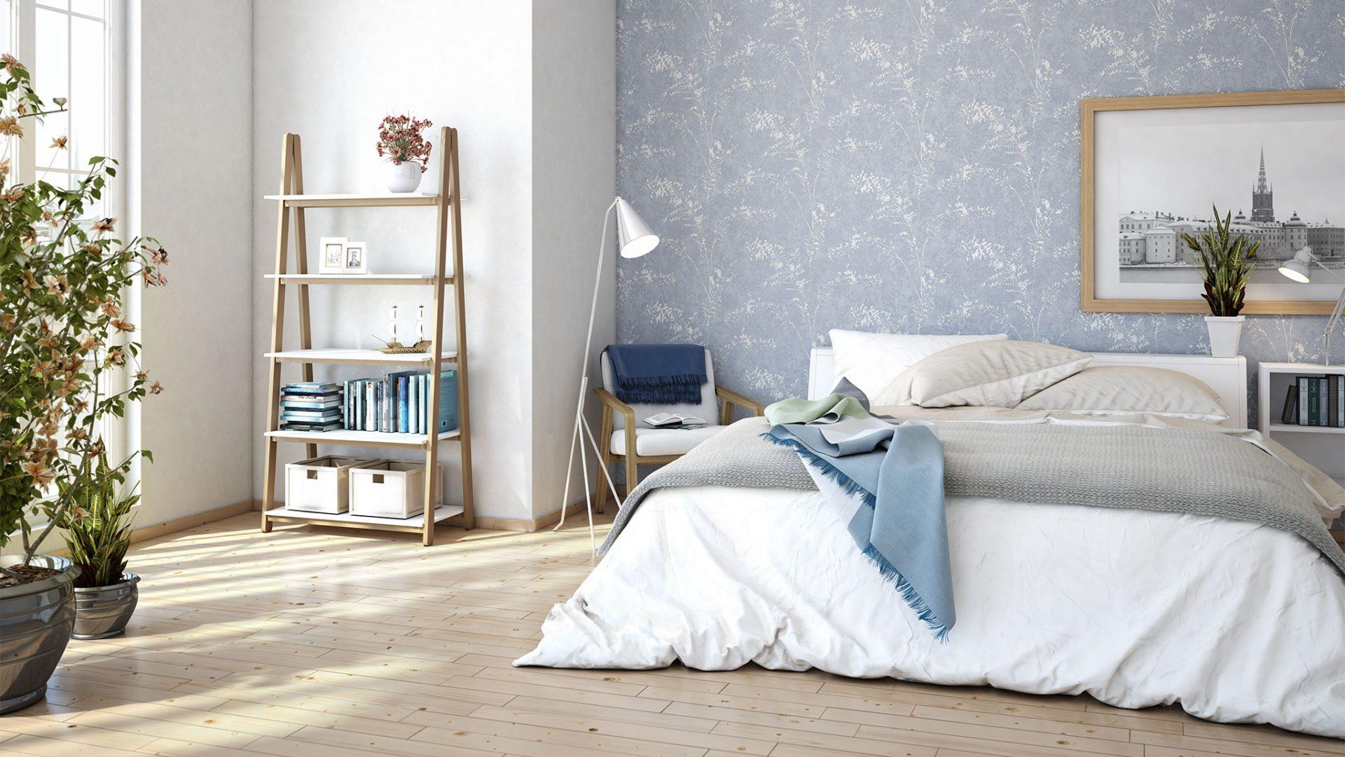 Interior 3D-Milieu/Rendering eines modernen Schlafzimmers mit Doppelbett vor hellblauer Rasch Tapete