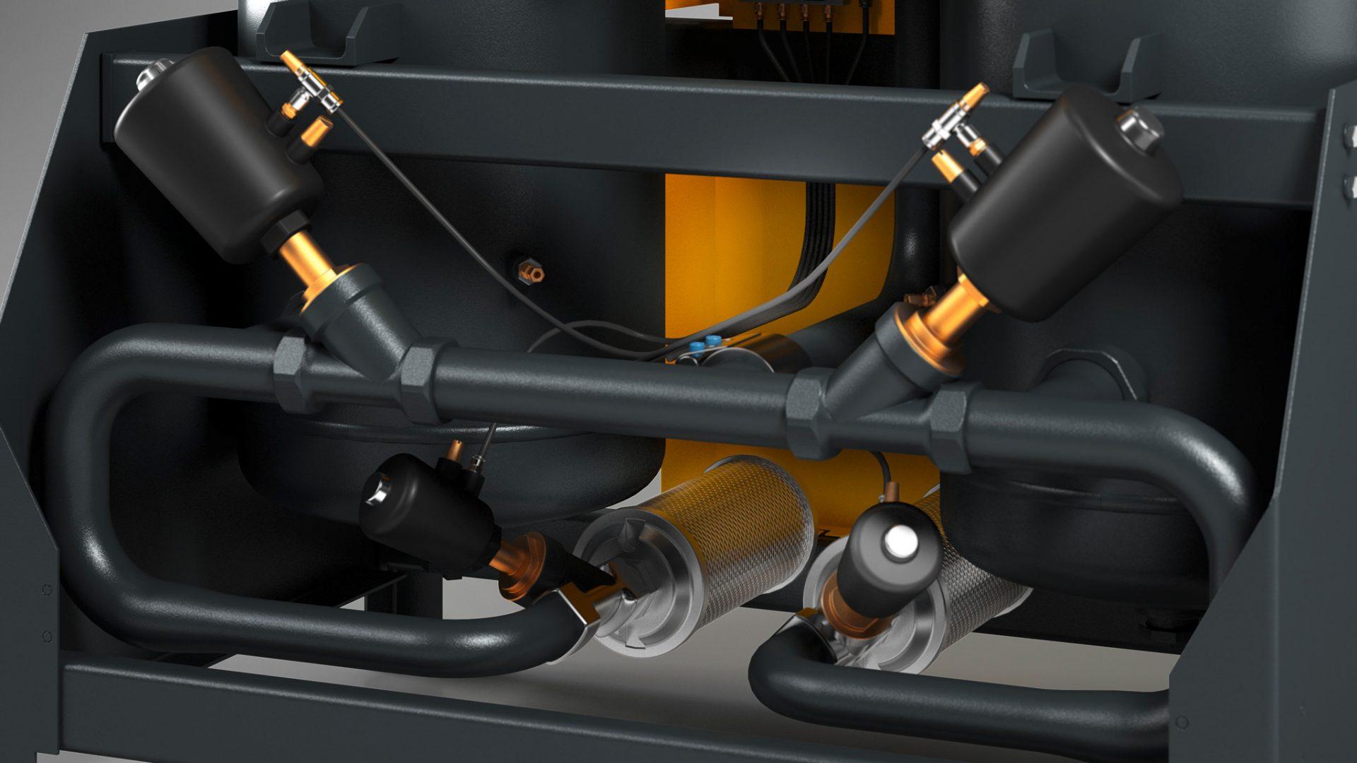 3D-Detailbild des Kaeser Adsorptionstrockners DC133