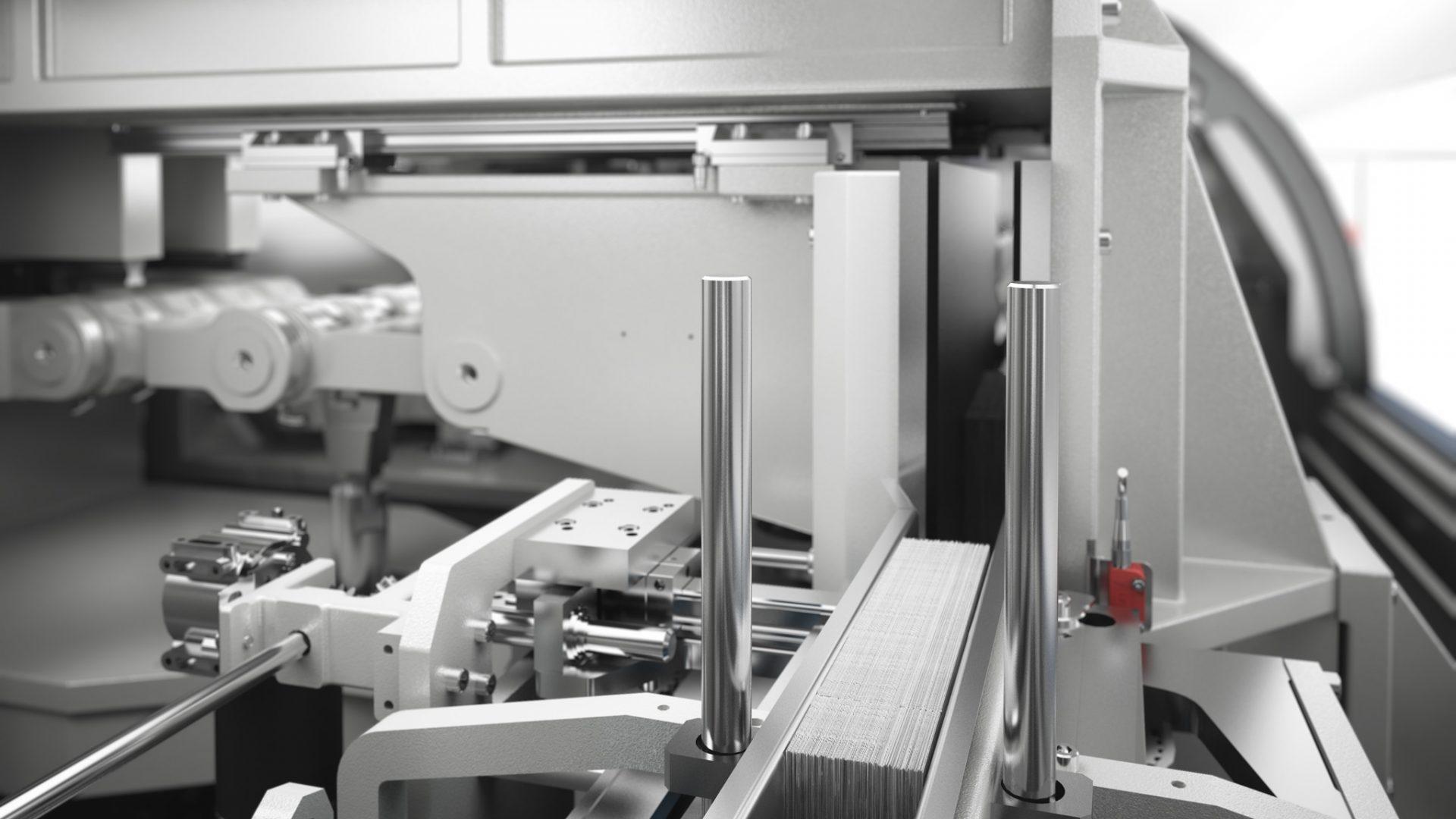 3D-Produktfoto/Rendering einer Kolbus Inline-Buchendfertigung, Ganzpresse