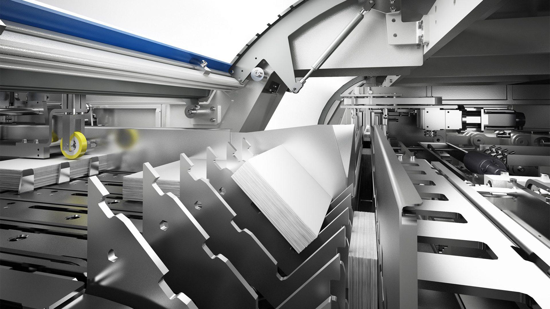 3D-Produktfoto der Kolbus Inline-Buchendfertigung, Ganzpresse