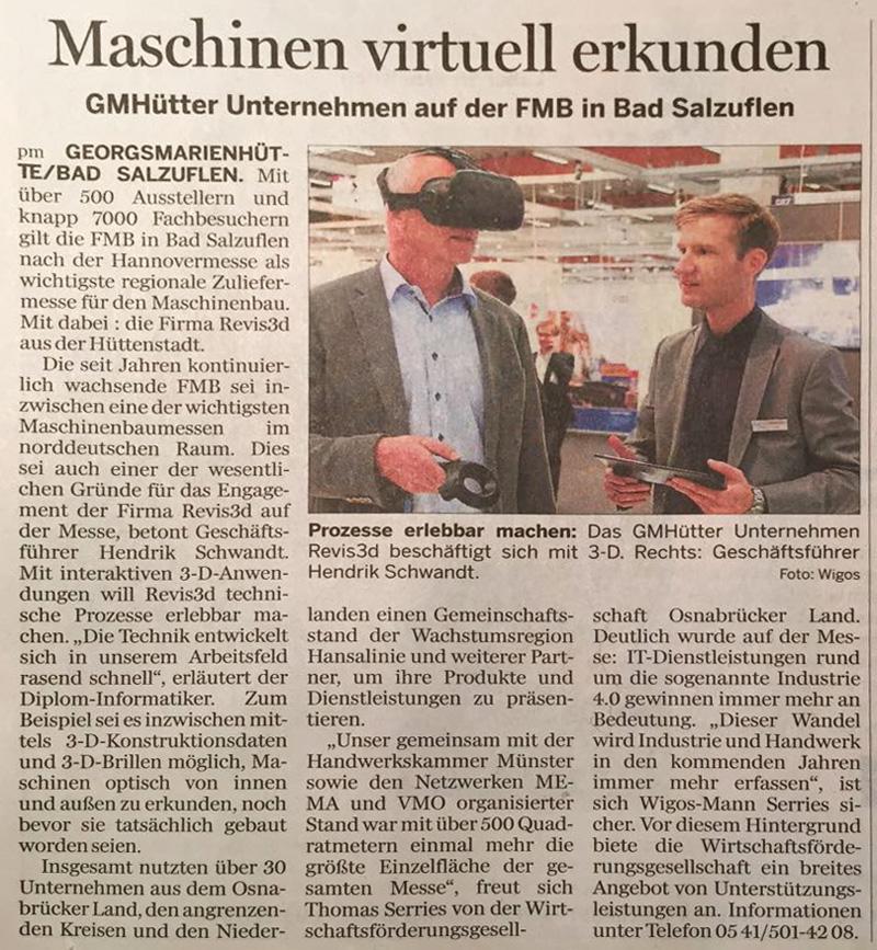 Artikel Maschinen virtuell erkunden (Neue Osnabrücker Zeitung Dezember 2017)