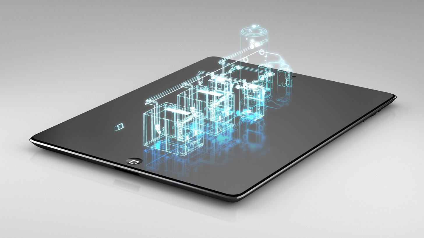 Hologram in 3D einer Anlage