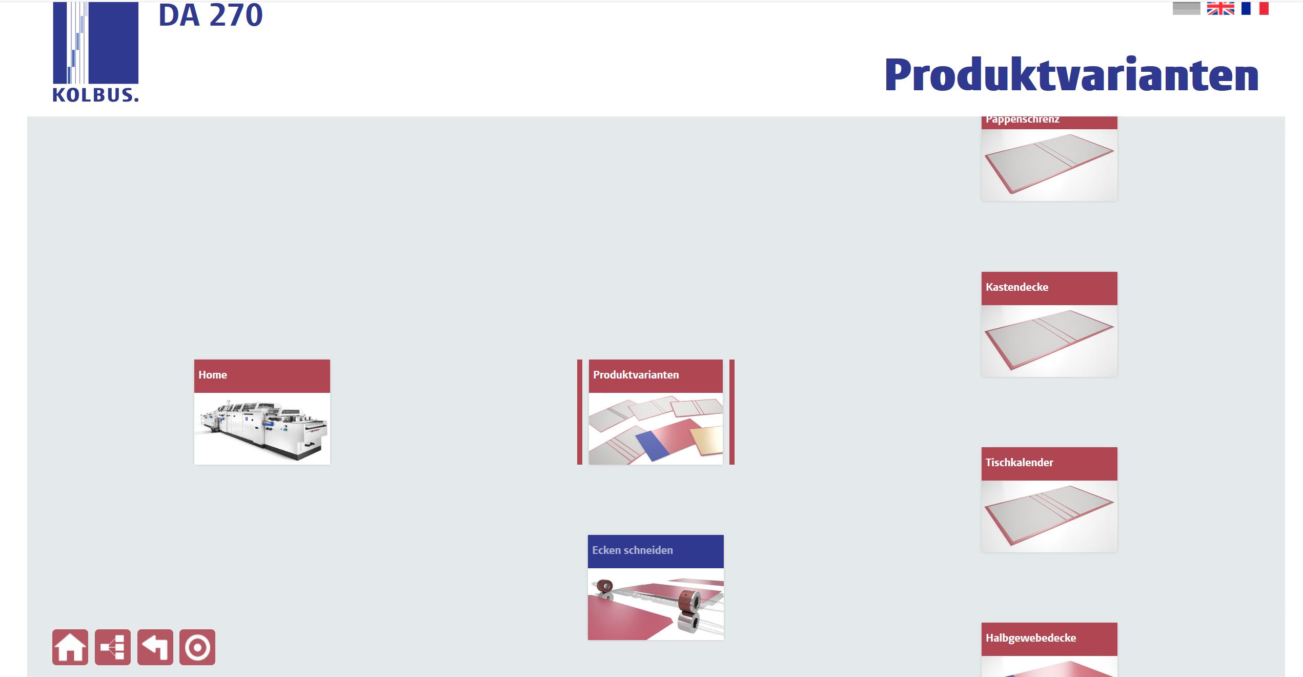 hierarchische Navigation in der Webapp zur Produktpräsentation